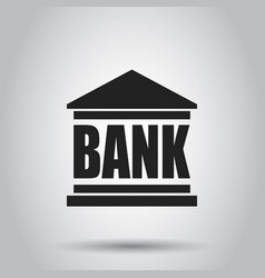 bank building icon in flat style on gray vector image