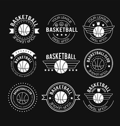 Basketball set vintage emblems vector
