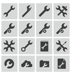 Black settings wrench icons set vector