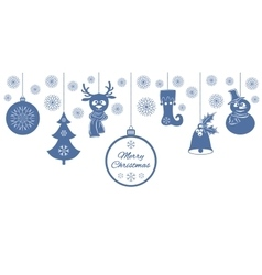 Blue christmas pendants a bell with holly ball vector