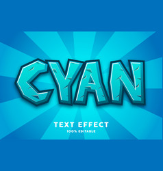 blue cyan game cartoon style text effect vector image