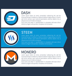 Blue dash white steem and orange with grey monero vector