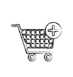 Blurred silhouette shopping cart and plus sign vector