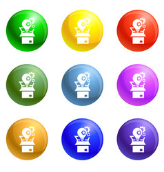 bulb gear box icons set vector image
