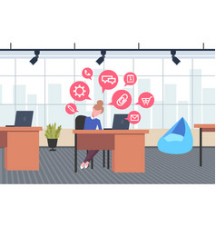 business woman sitting workplace businesswoman vector image