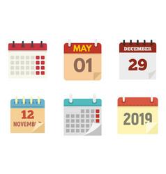 calendar icons set flat style vector image