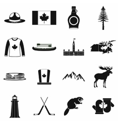 Canada icons black vector image