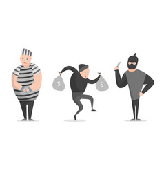 cartoon crime bandit thief characters icon set vector image