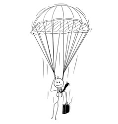 Cartoon of skydiver businessman with parachute vector