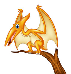 cartoon pterodactyl on a branch vector image