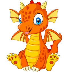 cartoon young dragon sitting vector image