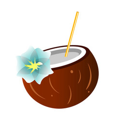 coconut cocktail isolated on a white background vector image