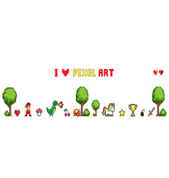 collection pixel art isolated on white vector image