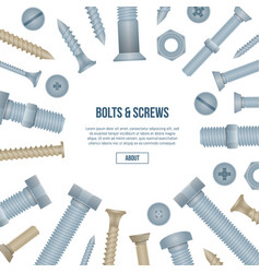 Construction shop banner with realistic bolts vector