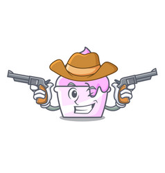 Cowboy ice cream paper cup character cartoon vector