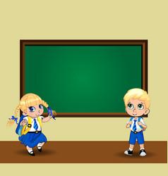 cute cartoon school girl and boy in uniform near vector image