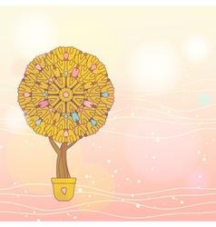 Cute cartoon tree romantic card vector