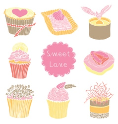 Cute Cupcakes Seamless Pattern vector image