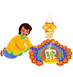 diwali indian holiday with father creating rangoli vector image