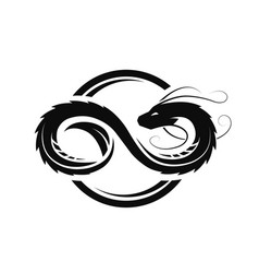 dragon in form infinity circle logo vector image