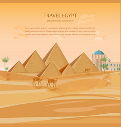 egypt pyramids card background desert view vector image