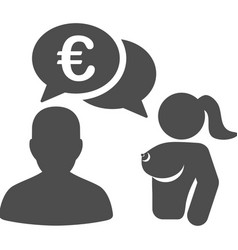 Euro adult chat flat icon vector