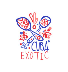 exotic summer cuba travel logo with maracas vector image
