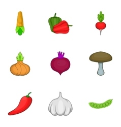 Farm vegetables icons set cartoon style vector