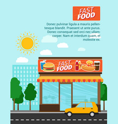 Fast food shop advertising banner vector