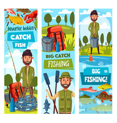 fishing sport banners fisherman and ammunition vector image