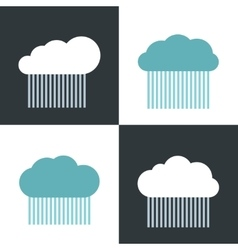 Flat cloud icons with rain on white and dark vector image
