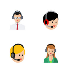 Flat icon center set of secretary call center vector