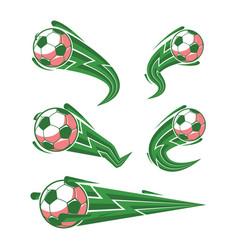 Football green and soccer symbols set vector