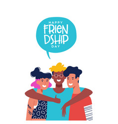 friendship day card three friends in group hug vector image