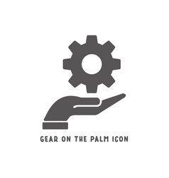 gear on palm hand icon simple flat style vector image
