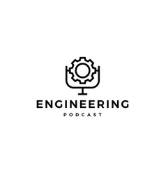 gear podcast logo icon for engineering blog video vector image