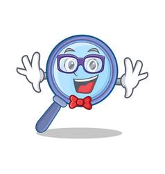 Geek magnifying glass character cartoon vector