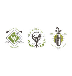 golf tournament premium logo set club sport vector image