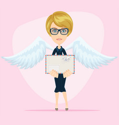 gorgeous young woman as love angel with love vector image