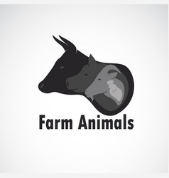 group farm animals design on white background vector image