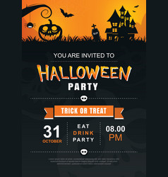 halloween invitation party poster template use vector image