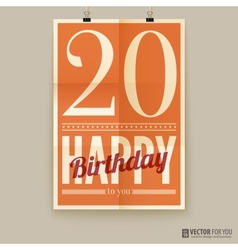 Happy birthday poster card twenty years old vector
