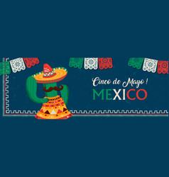 happy cinco de mayo mexican mariachi cactus banner vector image