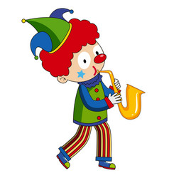 happy clown playing saxophone vector image