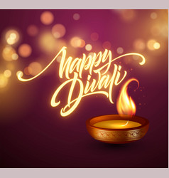 Happy diwali festival of lights retro oil lamp on vector