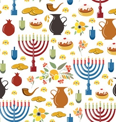 Happy Hanukkah objects background vector image