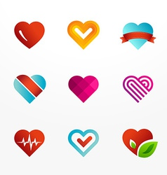 Heart symbol logo icon set vector image
