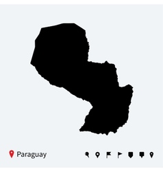 High detailed map of paraguay with navigation pins vector