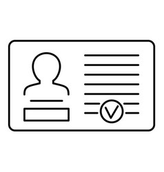 Id card icon outline style vector