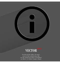 info Flat modern web button with long shadow and vector image